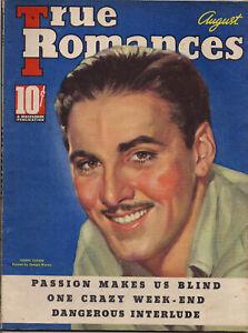 TRUE-ROMANCES-AUG-1937-ERROL-FLYNN-Cover-by-GEORGIA-WARREN-Lots-of-ads