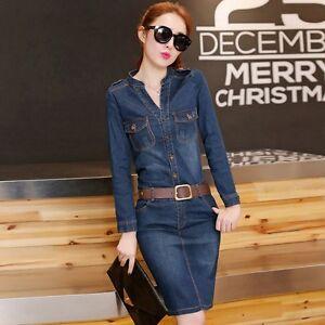 4ca3150149 Details about 2019 Spring Women Denim Jean Dress Slim Fit Long Sleeve V-Neck  Bodycon Dress New