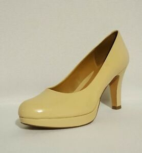 Clarks-Anika-Kendra-Nude-Patent-Leather-High-Heels-Court-Shoes-Ladies-Uk-Size-7