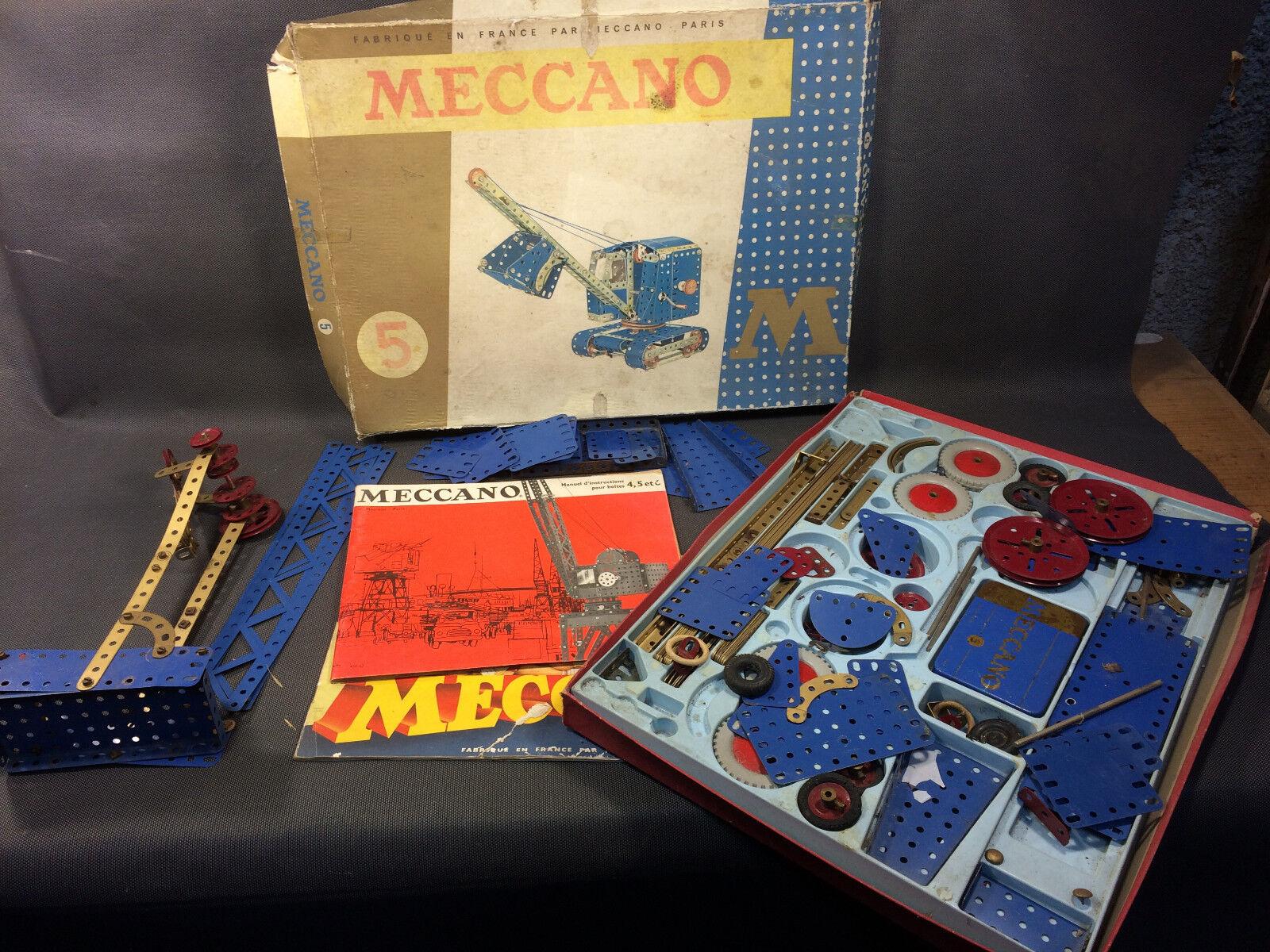 Antik Dose Meccano  5 Unvollständig + Diverse Elemente Räder Grooved mit