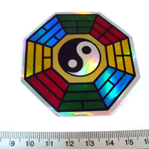 Feng Shui Reflective Light Sticker Decal Lucky Good Sign 2.5x2.5/""