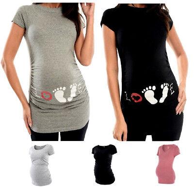 Di Animo Gentile T-shirt Maternità Gravidanza Tunica Leggera Manica Corta Tee Top Dress 8-18-mostra Il Titolo Originale Beneficiale Per Lo Sperma