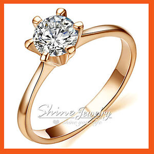 18K-ROSE-GOLD-GF-ROUND-1CT-SOLITAIRE-SIMULATED-DIAMOND-LADIES-WEDDING-SOLID-RING