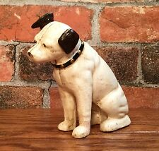 Cast Iron RCA Victor Phonograph Nipper Dog Vintage Coin Bank with Glass Eyes