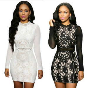 63eaabcb4f1bc Sexy Little Casual Party Dress Long Sleeve High Neck Keyhole Back ...