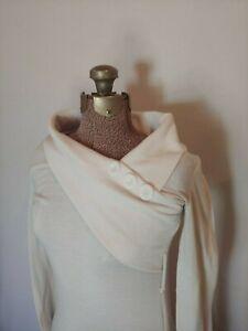 Vixen-Women-039-s-Long-Sleeve-V-Neck-Sweater-Dress-White-Buttons-Belt-Loops-Sz-Small