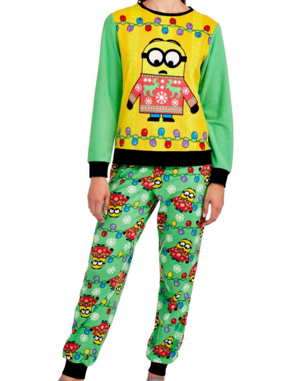 Despicable Me Womens Fleece Minion Ugly Sweater Pajamas Holiday Sleep Set