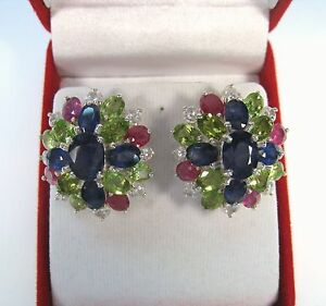 27-32-CTW-BLUE-WHITE-SAPPHIRE-RUBY-amp-PERIDOT-EARRINGS-WHITE-GOLD-925-SILVER