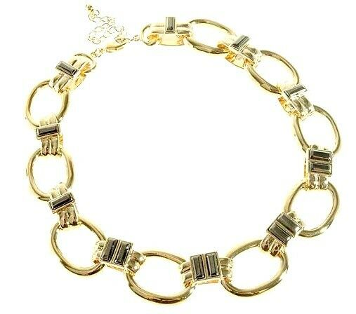 Chunky 2-Tone Gold Pltd Heavy Retro Classy Wag Feature Statement Choker Necklace