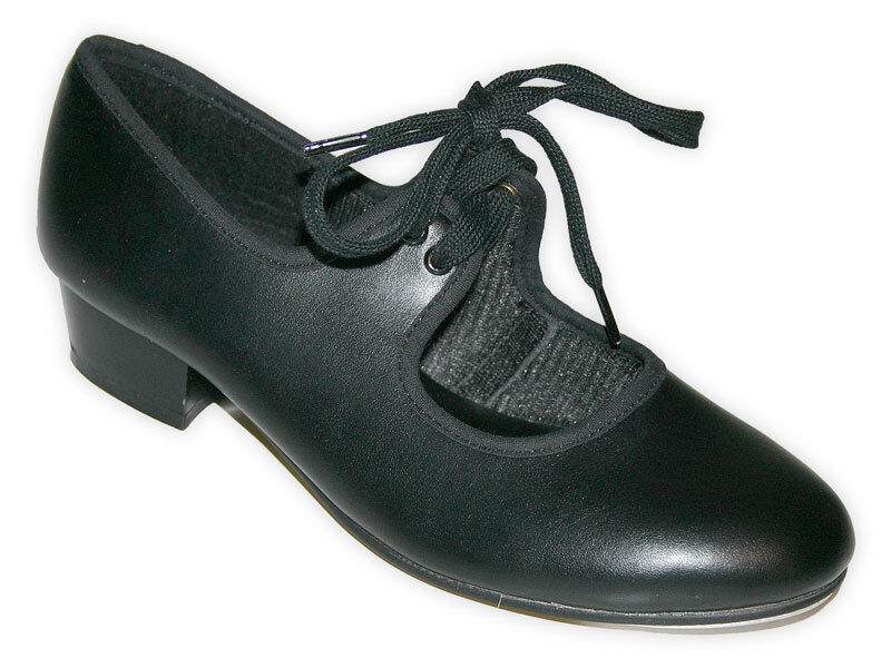 RochValley Black White Low Heel Tap Shoes with Heel and Toe Taps Size Ch5- Ad 8