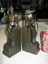ANTIQUE NY BRONZE CLAD NUDE MAN LADY BUST CLASSIC ART STATUE SCULPTURE BOOKENDS