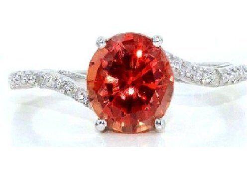1.5 Ct Orange Citrine /& Diamond Round Ring .925 Sterling Silver
