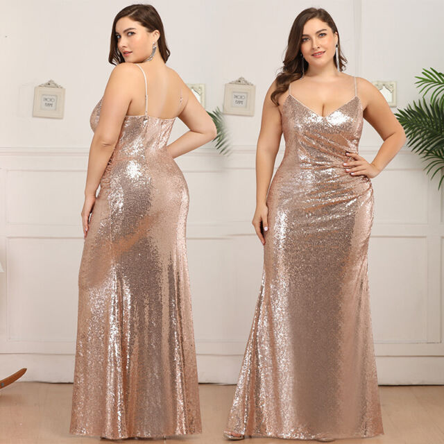 Ever-Pretty US Plus Size Spaghetti Strap Evening Prom Dresses Sequins Party  Gown