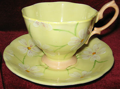 1 - Royal Albert 1950's Yellow with White Flowers Teacup & Saucer (2014-057)