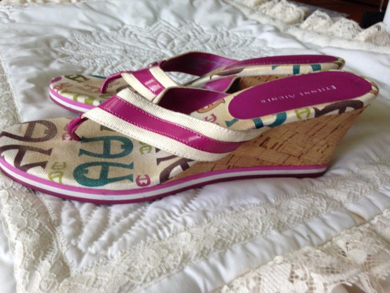 Etienne Aigner Rose Cork 2 3/4 Inch Wedge Cork Rose Heel Sandal/Thong Size 8 1/2 Medium 037440