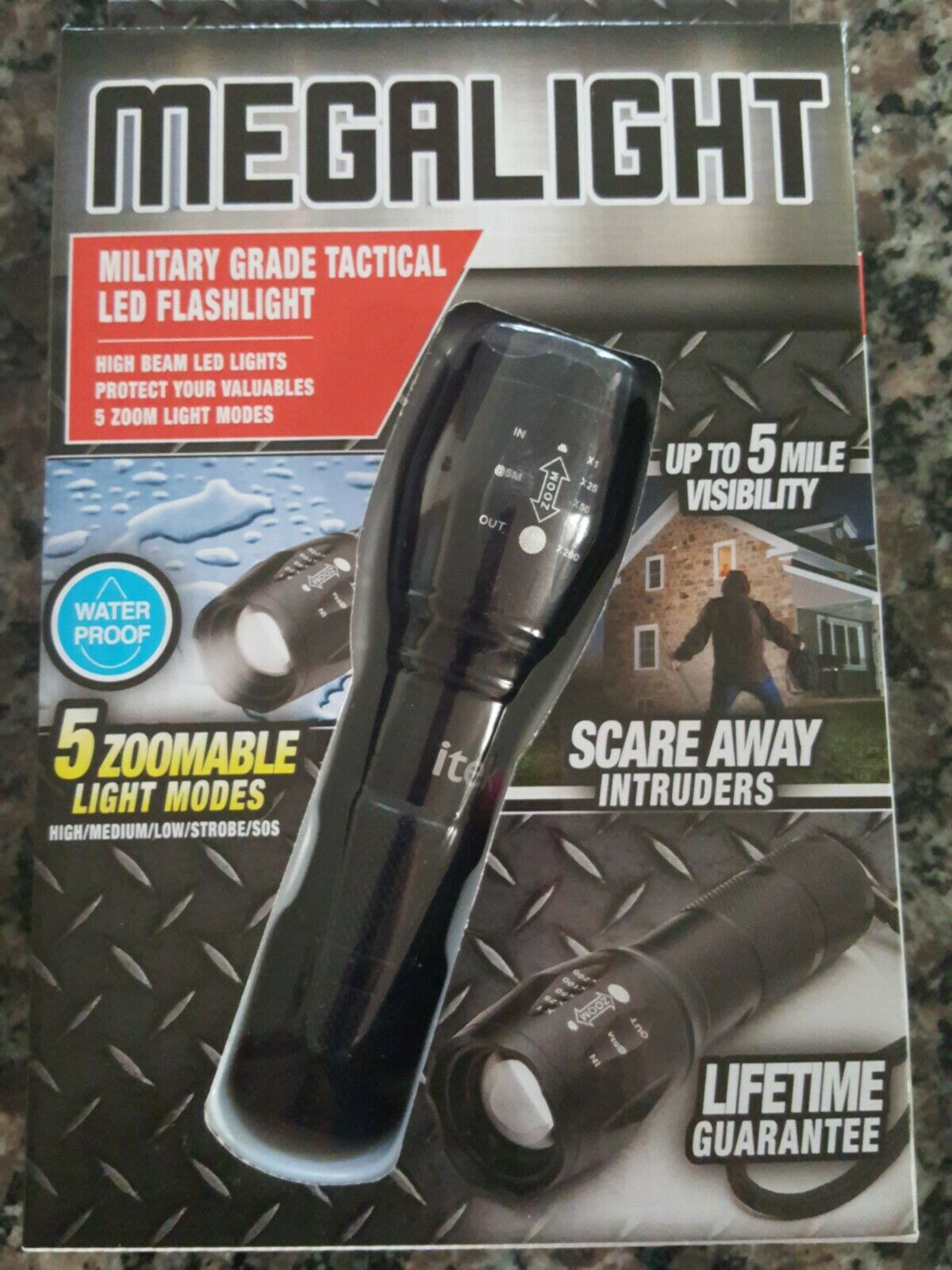 Megalight Military grade LED flashlight 5 zoomable light modes up  to 5 miles vis  outlet on sale