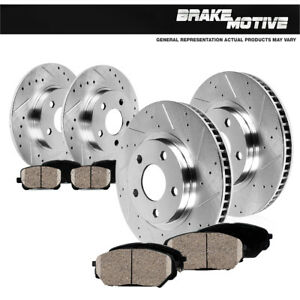 Front-Rear-Drilled-Slotted-Brake-Rotors-And-Ceramic-Pads-For-Lexus-HS250H-Rav-4