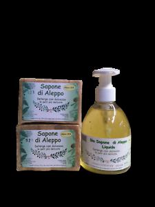 OFFERTA Sapone d'Aleppo liquido 20% alloro 250ml. + 2 saponi Aleppo solido