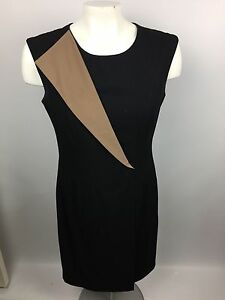 Calvin-Klein-Womens-Sheath-Dress-Black-amp-Tan-Sz-4-Sleeveless-Lined