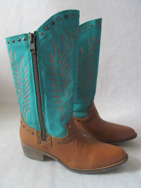 199 DIEGO DI LUCCA TUMBLE LEATHER EMBROIDERED WESTERN BOOTS SIZE 10 NEW