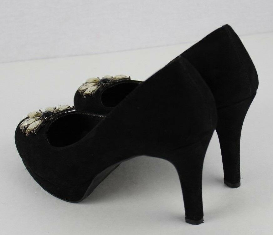 da1d76876322 Tahari Lina women s Suede umps heels black jeweled wedding party size 6.5