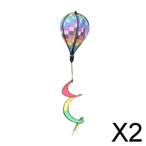 2X Wind Spinner Windsock Hot Air Balloon Whirligig Outdoor Yard Decor Checked