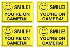 4 pack Smile You/'re On Camera Security Video Camera Surveillance Sign Sticker