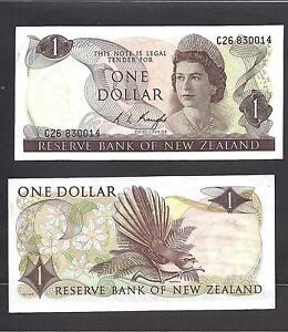 1977 XF-AU New Zealand p-163d 1 Dollar QEII