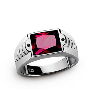 Mens-Ring-RED-RUBY-and-Natural-Black-Onyx-Accents-in-SOLID-925-Sterling-Silver