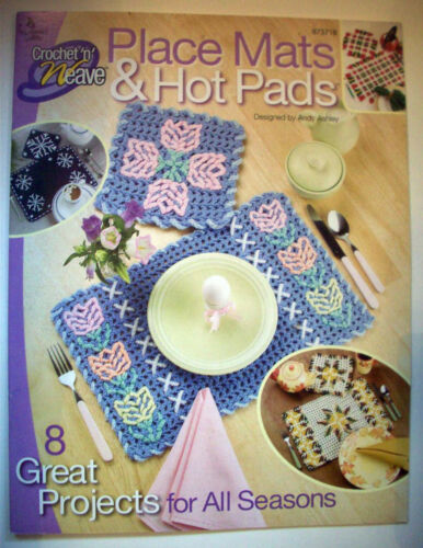 Place Mats /& Hot Pads Crochet n/' Weave pattern Annie/'s Attic 8 designs