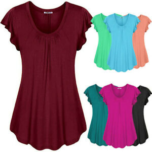 Solid-Color-Tunic-Women-039-s-Loose-Top-V-Neck-Pleated-Blouse-Short-Sleeve-T-Shirt