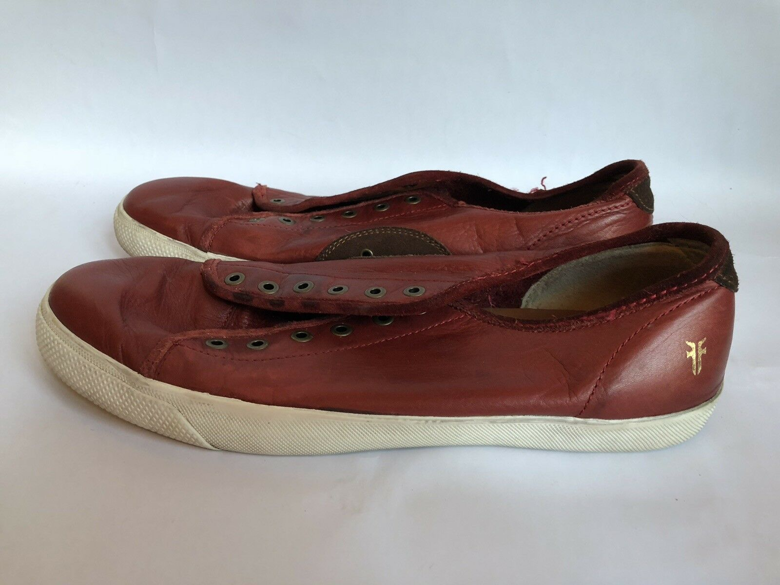 Men's Frye  Low Lace Bud Red Leather Casual Sneakers shoes Size 12