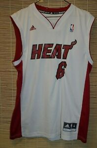 cheap for discount fb298 f24c9 Details about NBA MIAMI HEAT basketball SHIRT JERSEY adidas #6 Lebron James  size M basketball