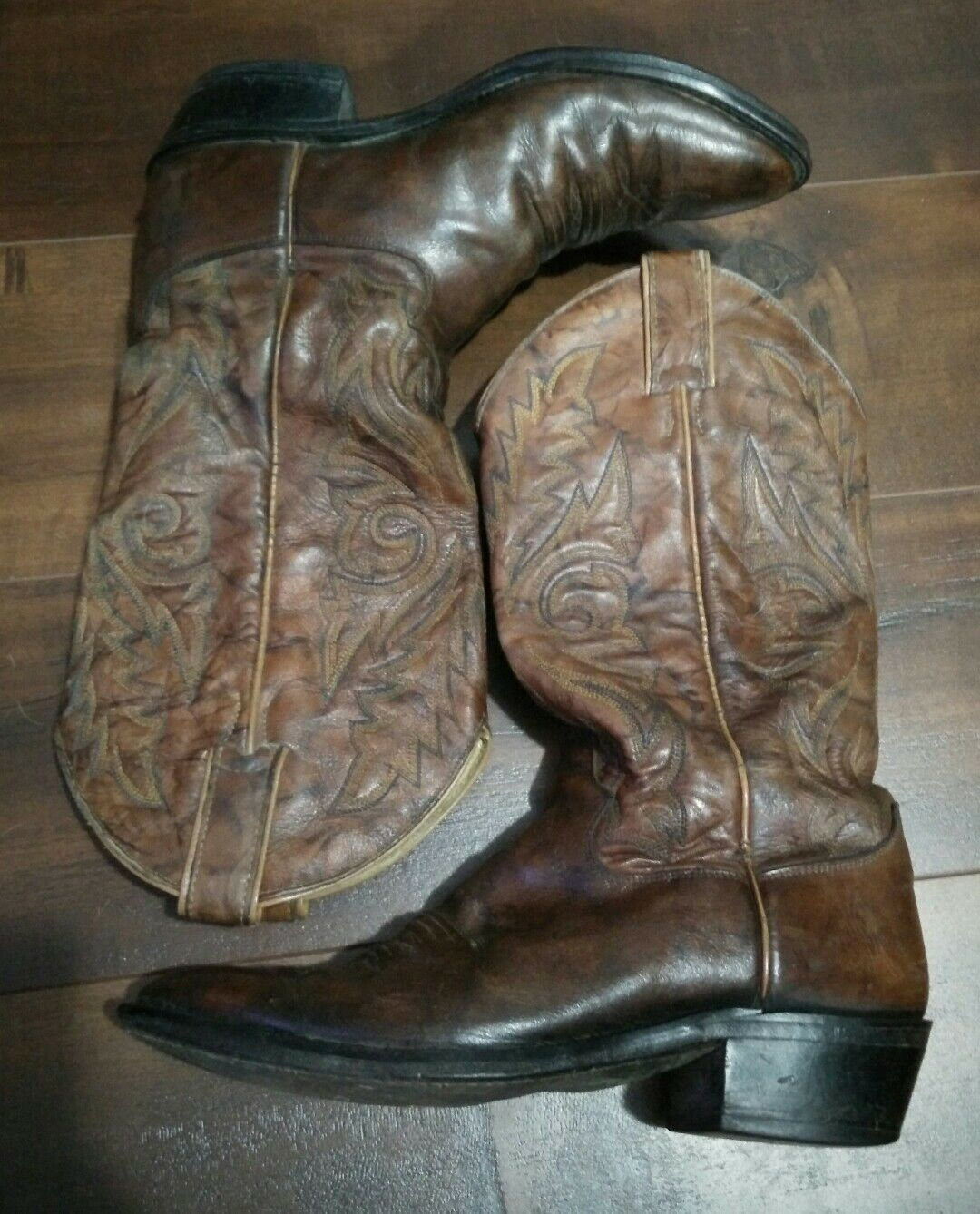 JUSTIN 1560 Boots Mens Brown Textured Leather Cowboy Western Country 8 D