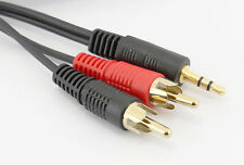10m 3.5mm Jack to 2 RCA Audio Phono Cable STEREO Speakers DVD TV Video Camera