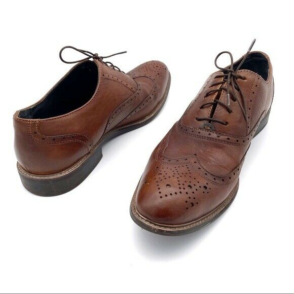 Kenneth Cole New York Bee-Mer Wingtip Oxfords Men's Size 10.5 Brown Leather Work