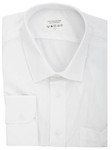 Ex Store Easycare Polycotton Long Sleeve Single Cuff Shirt White
