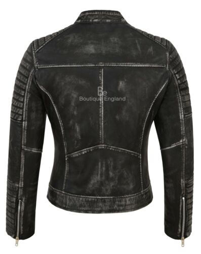 Women Biker Vintage Jacket Lambskin Real 2735 Style Speed Leather Racing Black rIqwr8C