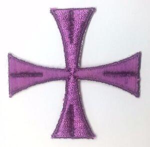 Vintage-Cruz-3-034-Bordado-para-Coser-Purpura-C-Maltes-Emblema-Parche-2PC