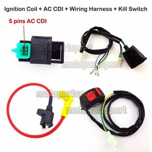 ignition coil ac cdi wiring loom harness kill switch for 50 160cc rh ebay com kill switch wiring on kohler engine kill switch wiring diagram capacitor