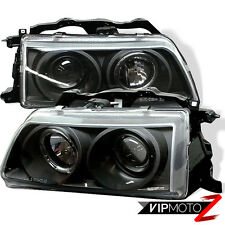 90-91 Honda Civic 2/3/4DR HB JDM Black Halo Projector Headlight Left+Right Lamps
