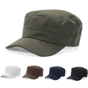 Homme-Militaire-Femme-Armee-Style-Cap-Classique-plaine-Visiere-Coton-Cadet-Chapeau-de-combat