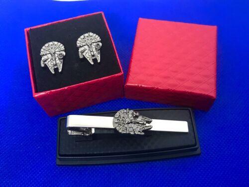 Details about  /Millennium Falcon Star Wars Tie Clip And Millennium Falcon Cufflinks Gift Set