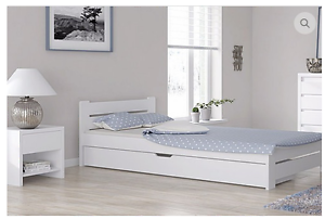 einzelbett bettgestell 100x200 wei bettkasten schublade massivholz weiss ebay. Black Bedroom Furniture Sets. Home Design Ideas