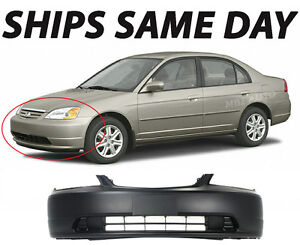 New Primered Front Bumper Cover Fascia For 2001 2003 Honda Civic Coupe Sedan