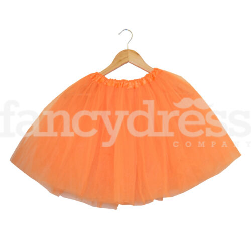 "Orange Ladies Girls Tutu Skirt Fancy Dress Halloween Pumpkin 3 Layers 17/"" Long"