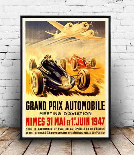 Grand Prix Nimes 1947 Vintage motor racing advertising poster reproduction.