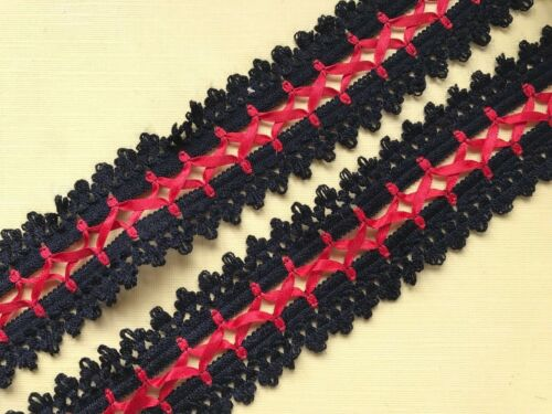 Black Cotton Lace with Red Ribbon Lacing 4.5 cm  Craft Trim Sew