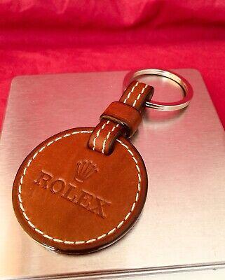 Genuine Rolex Brown Leather Crown Logo Keychain Key Ring Keyring. Scarce!