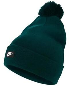 sale retailer ec134 ddfa6 Image is loading Nike-Sportswear-Removable-Pom-Pom-Beanie-Hunter-Green-